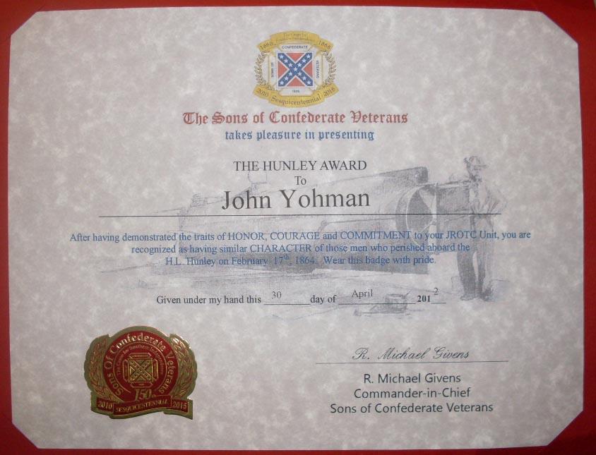 The H. L. Hunley award.