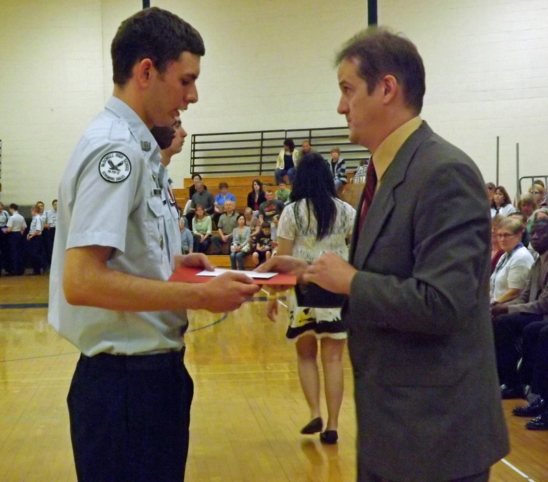 Cadet Greg Cass receives Hunley award.